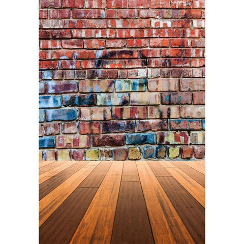 Colorful Graffiti Brick Wall With Wood Floor Backdrop For Photography