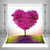 Love Heart Tree Red Leaves Backdrop For Mother's Day Photography Backdrop