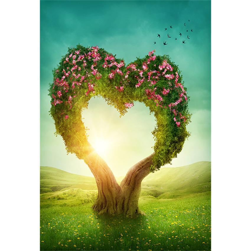 Mother's Day Backdrop Love Heart Tree With Flowers Backdrop for Photography
