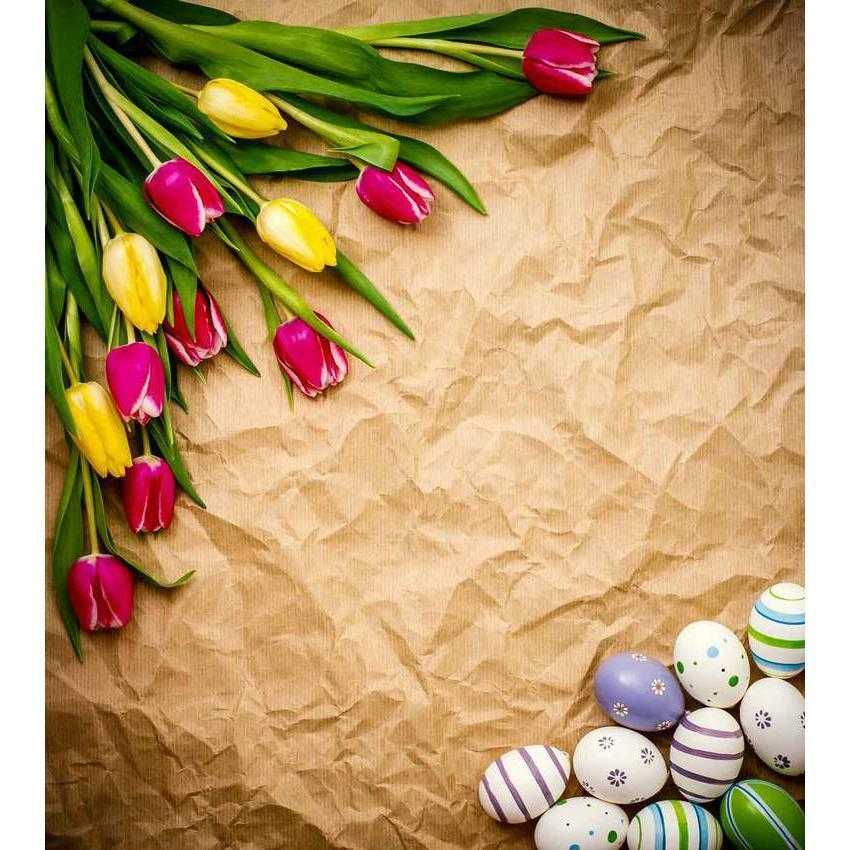 Easter Eggs And Flower Decoration Backdrop For Photography Backdrop