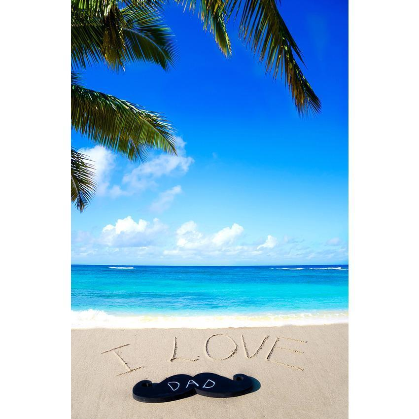 I Love Dad On Beach Backdrop Seaside Father's Day Photography Background