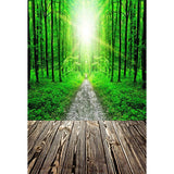 Green Forest Road And Sunshine Backdrop Photography Background