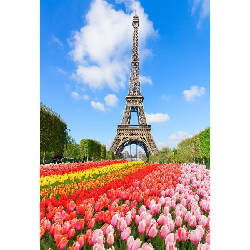Spring Eiffel Tower and Flowers Backdrop for Spring Season Photography