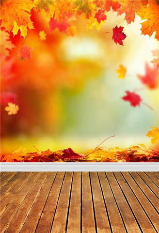 Brown Wood Floor Autumn Leaves Backdrops