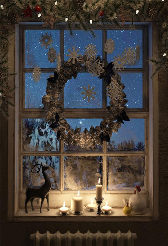 Winter Winodw Christmas Wreath Backdrop for Photo Porp