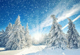 Winter Photography Backdrop Snowflake Forest Background