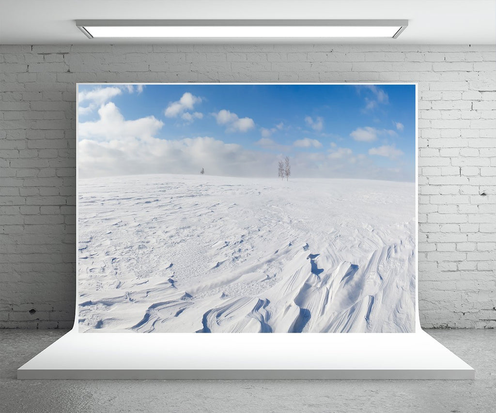 White Snow Ground Photography Backdrop Winter Background