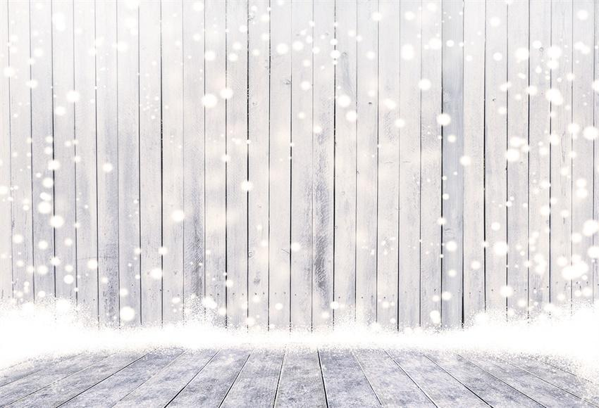 White Snowflake Wood Floor Photography Backdrop for Christmas