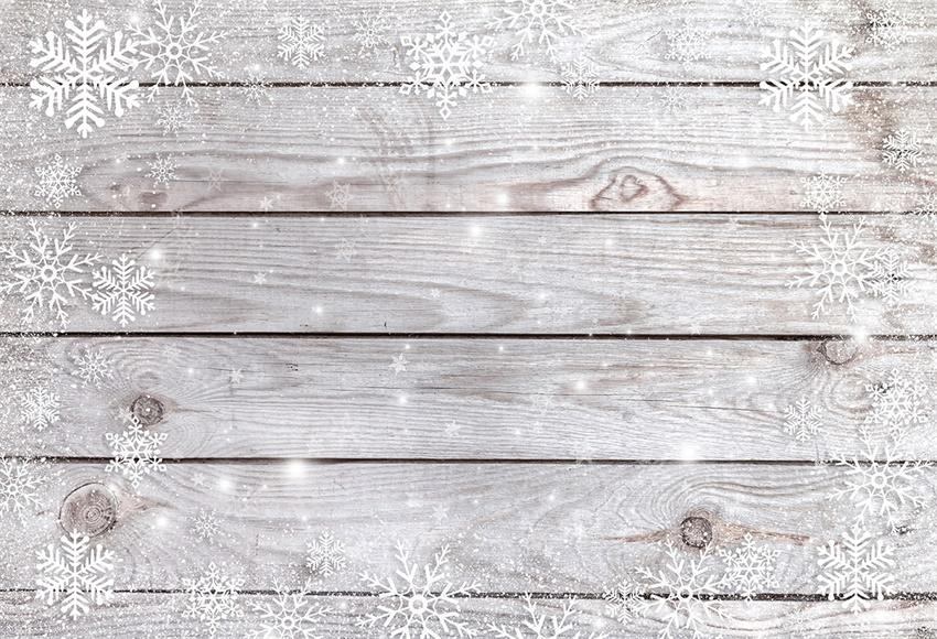 White Snowflake Wood Wall Photography Backdrop for Christmas