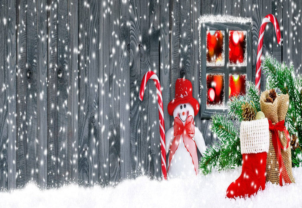 Christmas Backdrop Snowman Snowflake Red Boots Photo Background