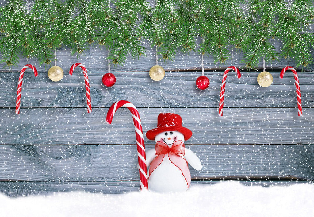 Snowman Christmas Photography Backdrop Snowflake Wood Wall Background