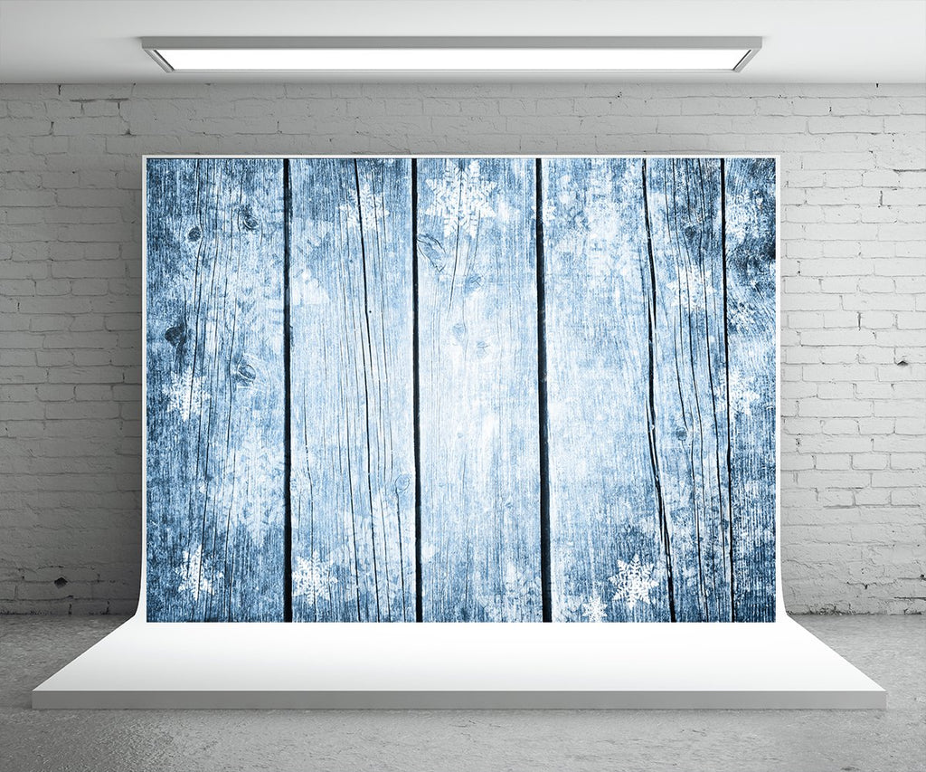 Snowflake Blue Wood Wall Photography Backdrop for Christmas