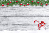 Snowman Pine Branch Wood Wall Photography Backdrop for Christmas