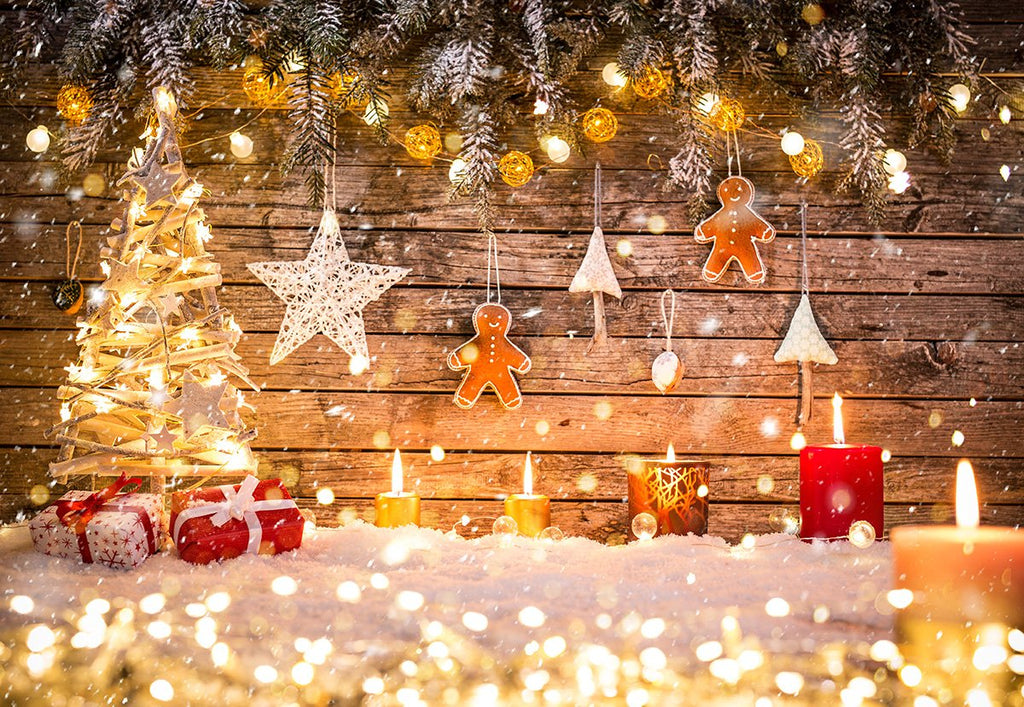 Light Christmas Tree Photography Backdrop Wood Background