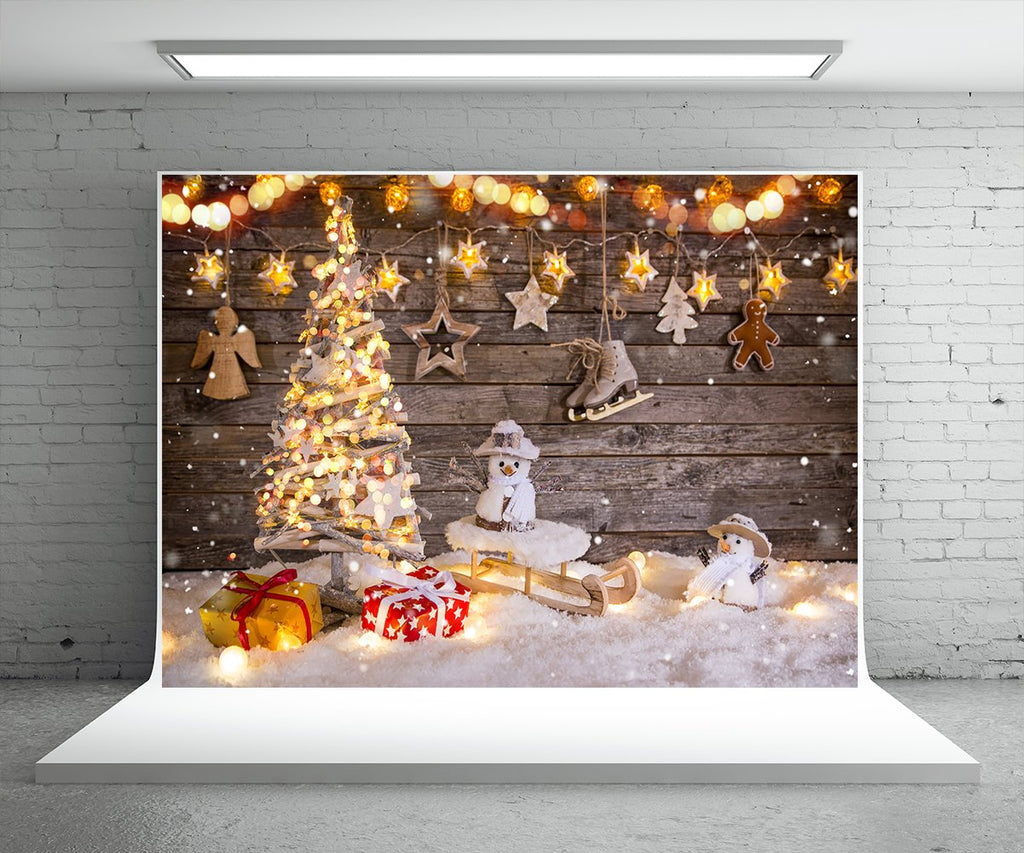 Christmas Tree Gift Photo Backdrop Snowman Background