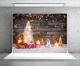 Christmas Tree Snow Photography Backdrop Wood Wall Background