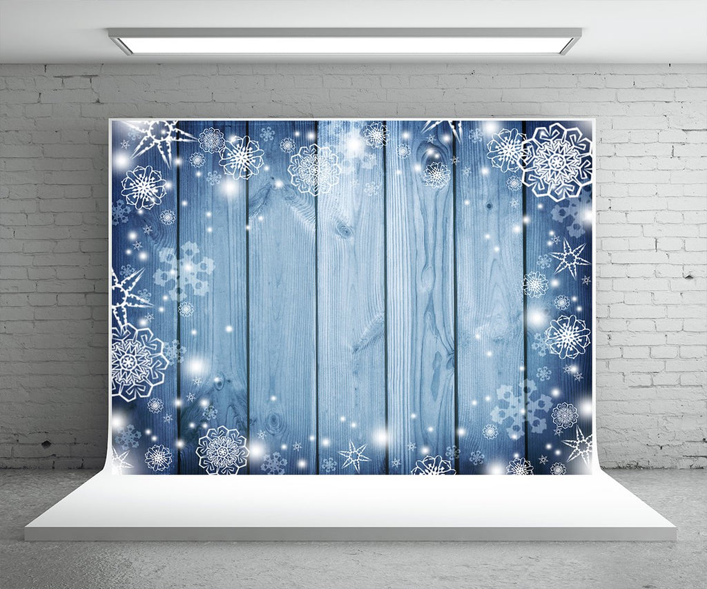 Blue Wooden Christmas Backdrop Snowflake Photo Studio