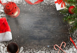 Christmas Dark Wood Wall Photography Backdrop
