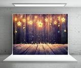 Light Star Wood Wall Photography Backdrop for Christmas