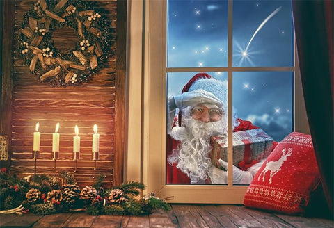 Christmas Window Santa Claus Gift Photography Backdrops