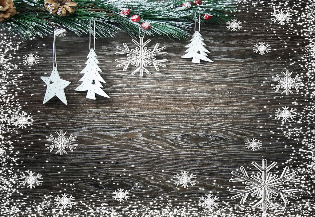 Snowflake Black Wood Wall Photography Backdrop Christmas Background