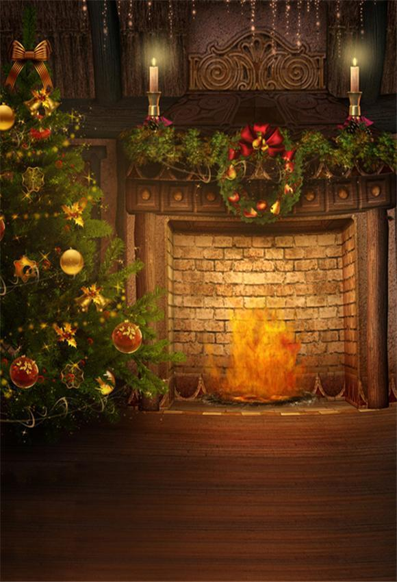 Brick Fireplace Christmas Backdrop