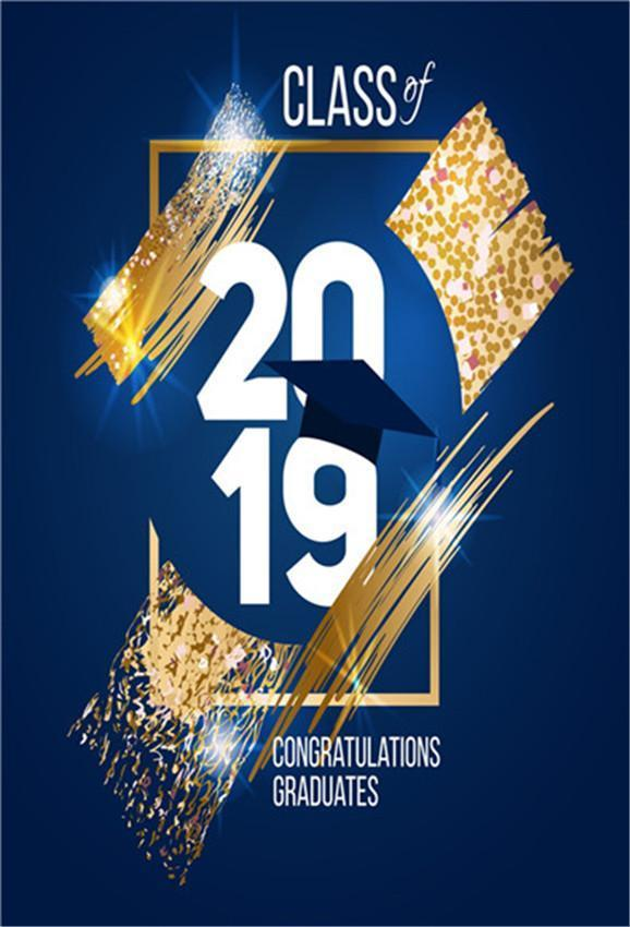 Navy Blue Gold Graduation  Backdrops Congratulations Background
