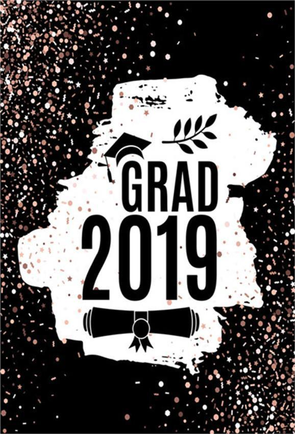 Grade 2019 Black and Pink Graduation Party Backdrop for Photo