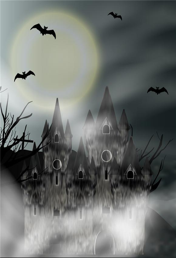 Bright Moon Black Castle Halloween Backdrop for Photo