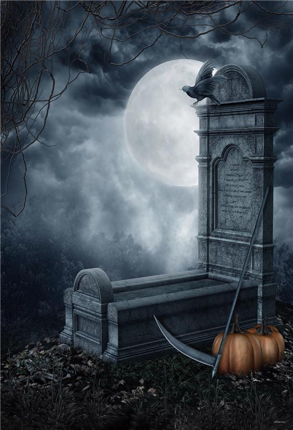 Cemetery Bright Moon Branches Halloween Backdrop