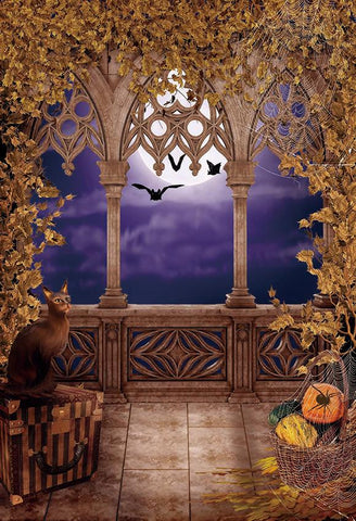 Fall Leaves Moon Cat Backdrops for Autumn