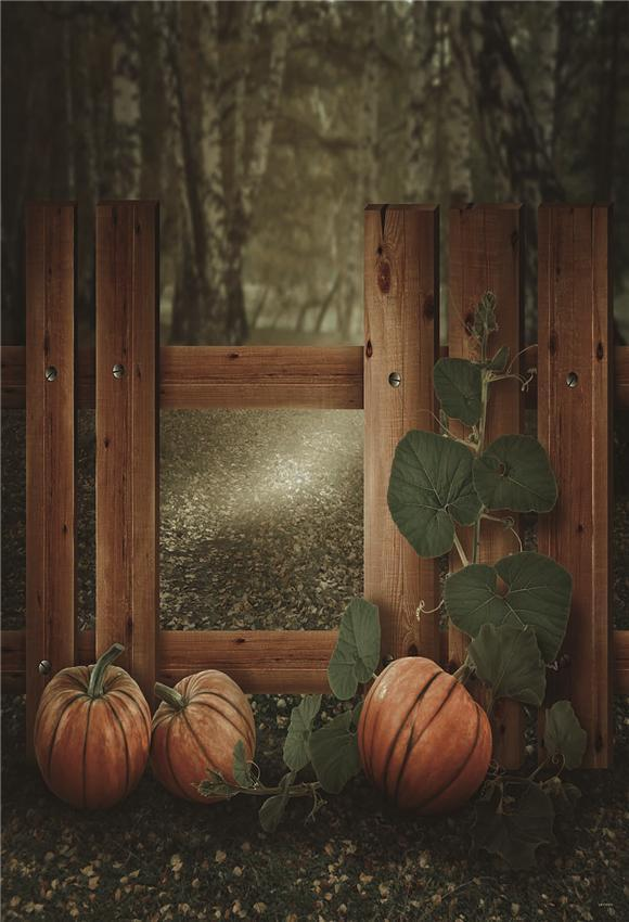 Fall Wood Fence Pumpkin Photo Backdrops for Studio