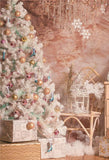 White Christmas Tree Pink Photography Backdrops