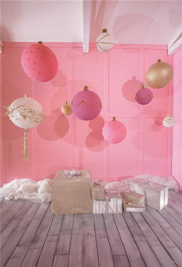 Pink Bell Grey Wood Floor Photography Backdrop