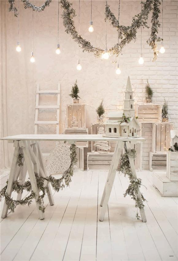 White Wooden Christmas Photography Backdrop Prop