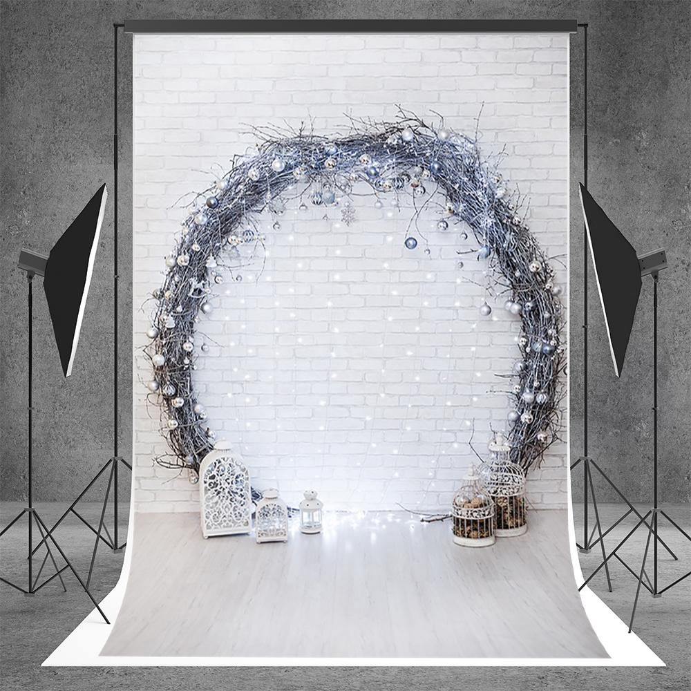 White Brick Wall Christmas Branches Wreath Backdrop for Party