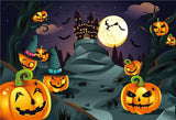 Big Pumpkin Bats Witch Halloween Backdrops