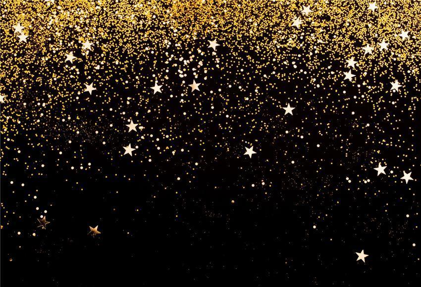 Black Gold Shiny Stars Glitter Party Backdrop for Picture