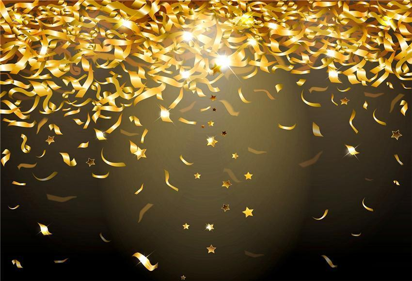 Gold Ribbon Black Shiny Backdrops for Party