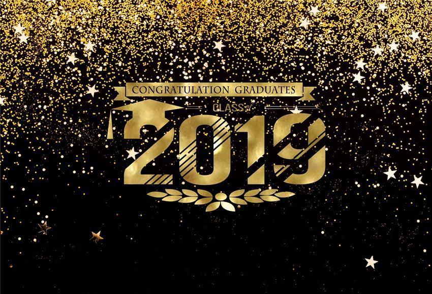 Gold Shiny Class of 2019 Black Graduation Backdrop for Party
