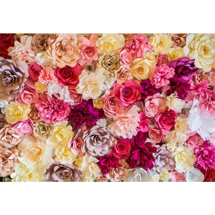 Printed Beautiful Brilliant Colorful Floral Wall  Photography Backdrop