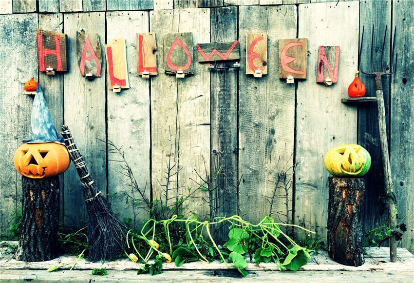 Wood Wall Pumpkin Halloween Backdrop