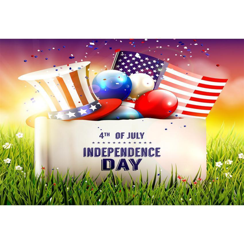 American Flag with Green Grass Backdrop Happy Independence Day Background