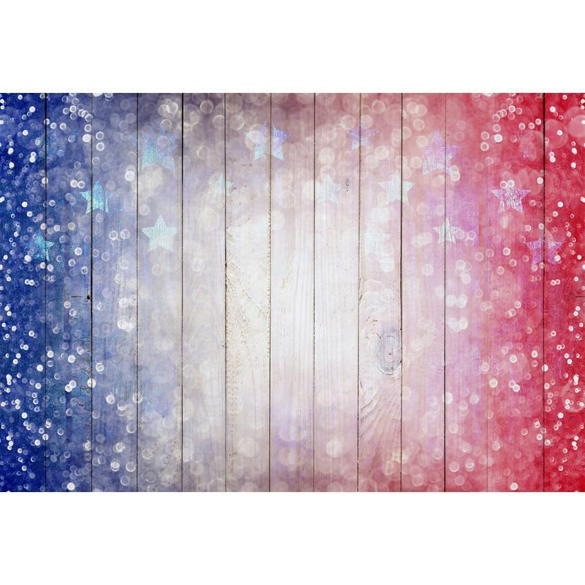 Bokeh American Flag With Stars Wood Floor Backdrop for Independence Day Photography