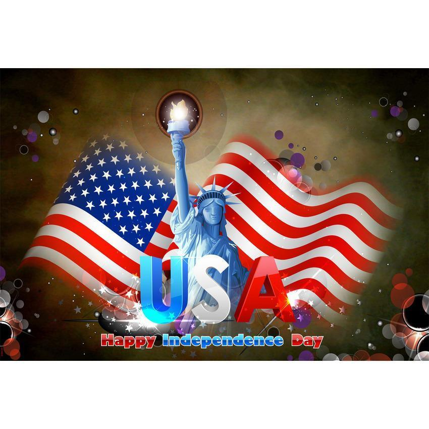Independence Day American Flag Backdrop Brown Dark Background
