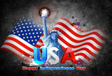 American Flag and Statue Of Liberty Backdrop Dark Grey Background for Independence Day