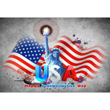 Grey American Flag And Statue Of Liberty For Independence Day Photography Backdrop