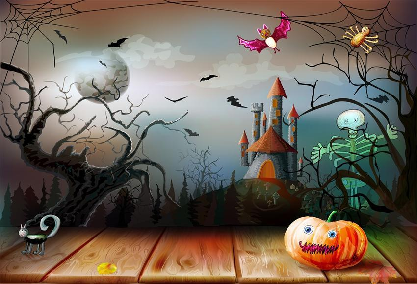Cartoon Spider Web Wood Floor Halloween Backdrop