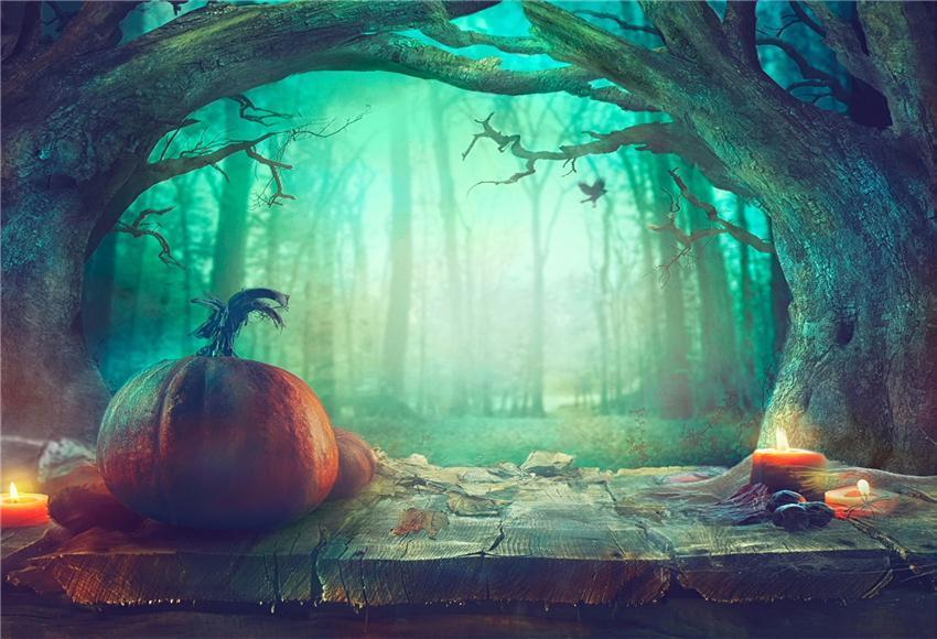 Magic Forest Wood Floor Halloween Backdrop for Photo