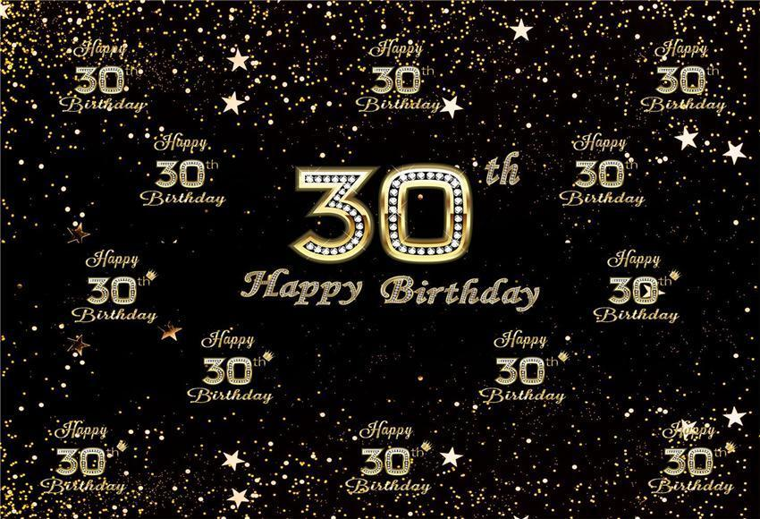 30th Diamond Happy Birthday Gold Star Backdrop for Party